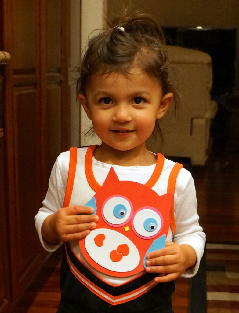 A with a $1 owl craft I helped her make