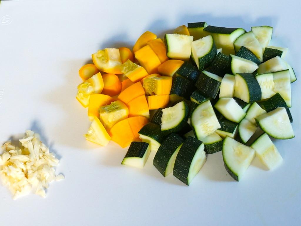 Chopped garlic and summer squash