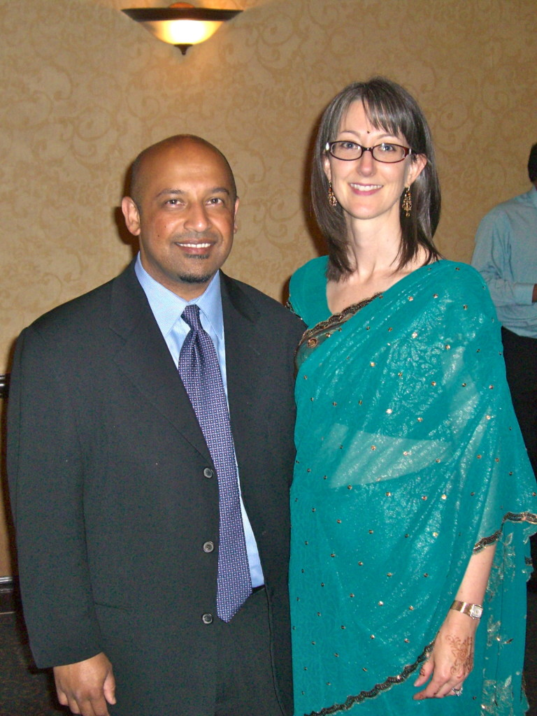 B and I at another wedding; I'm wearing a sari made from chiffon