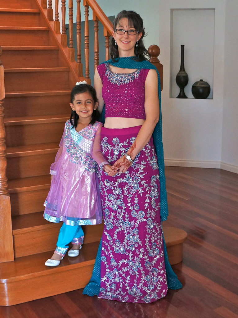 Me and H (even the kiddos wear Indian clothing!); I'm wearing a lehenga.