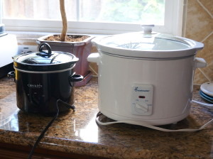 Two sizes of crockpots--either one will work for yogurt-making
